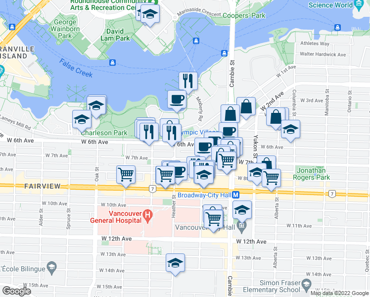 map of restaurants, bars, coffee shops, grocery stores, and more near 668 West 6th Avenue in Vancouver