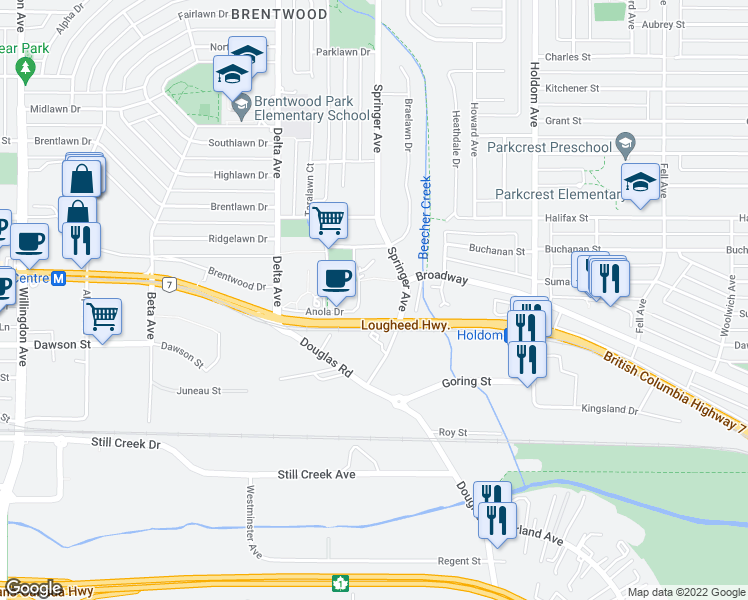 map of restaurants, bars, coffee shops, grocery stores, and more near 2060 Bellwood Avenue in Burnaby