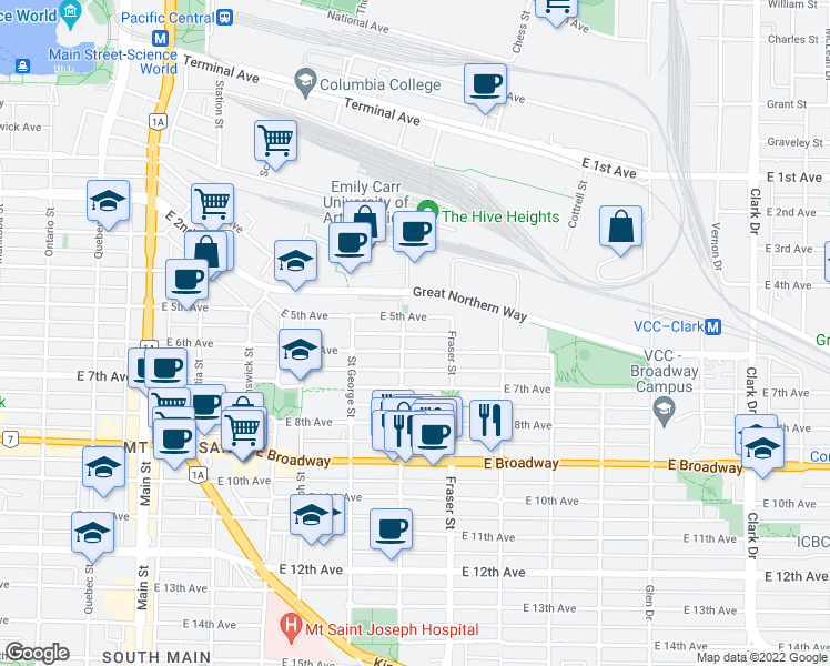 map of restaurants, bars, coffee shops, grocery stores, and more near 2142 Carolina Street in Vancouver