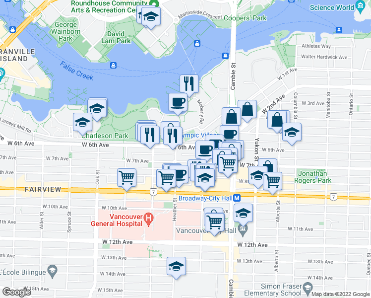 map of restaurants, bars, coffee shops, grocery stores, and more near 678 West 6th Avenue in Vancouver
