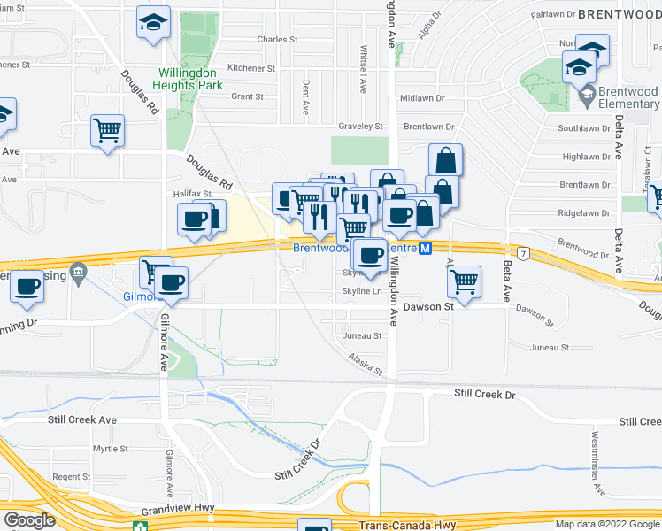 map of restaurants, bars, coffee shops, grocery stores, and more near 2077 Rosser Avenue in Burnaby