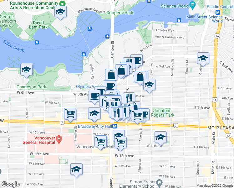 map of restaurants, bars, coffee shops, grocery stores, and more near 495 West 6th Avenue in Vancouver