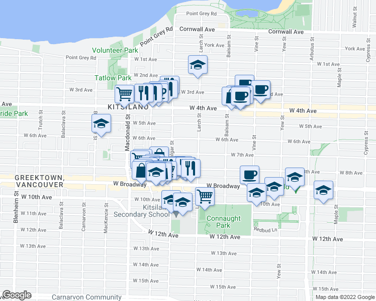 map of restaurants, bars, coffee shops, grocery stores, and more near 2529 West 7th Avenue in Vancouver