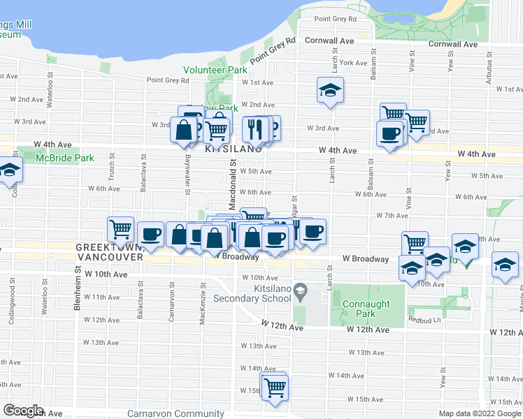 map of restaurants, bars, coffee shops, grocery stores, and more near 2245 Stephens Street in Vancouver