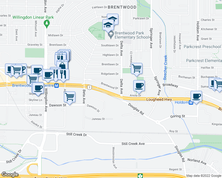 map of restaurants, bars, coffee shops, grocery stores, and more near 4868 Brentwood Drive in Burnaby