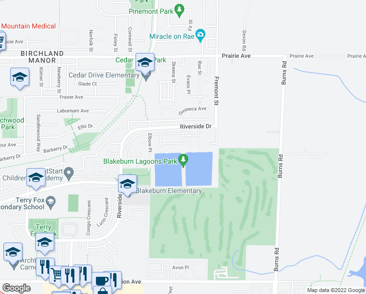 map of restaurants, bars, coffee shops, grocery stores, and more near 758 Riverside Drive in Port Coquitlam