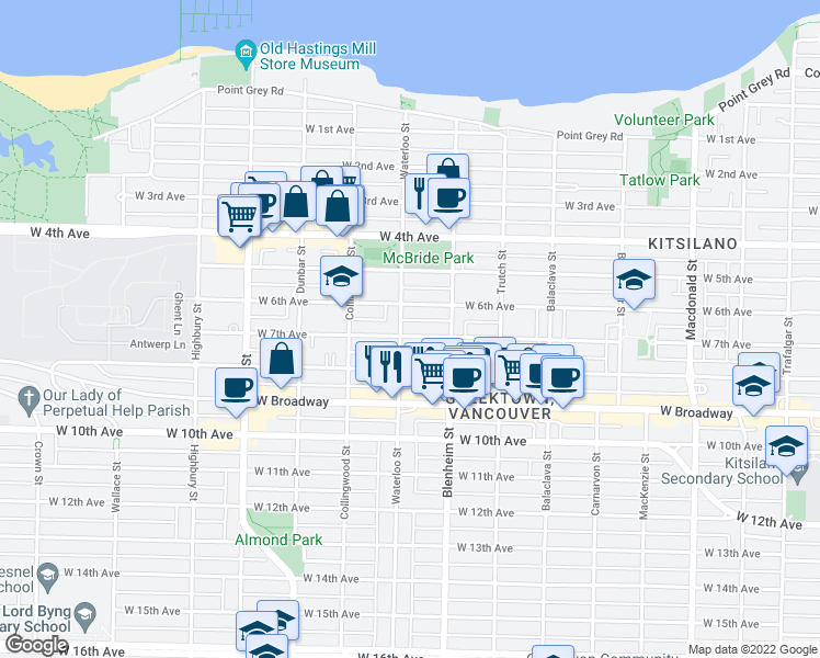 map of restaurants, bars, coffee shops, grocery stores, and more near 3381 West 7th Avenue in Vancouver