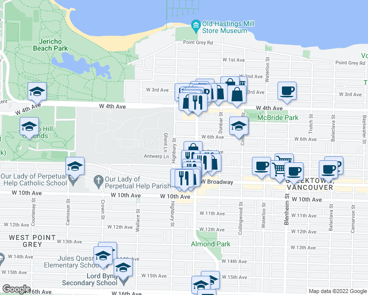 map of restaurants, bars, coffee shops, grocery stores, and more near 3769 West 7th Avenue in Vancouver
