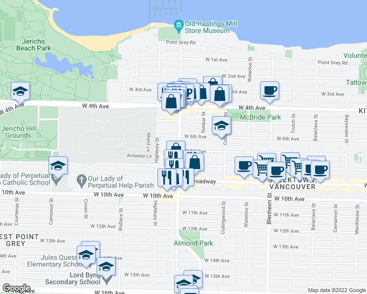 map of restaurants, bars, coffee shops, grocery stores, and more near 3675 West 7th Avenue in Vancouver