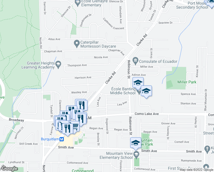 map of restaurants, bars, coffee shops, grocery stores, and more near 700 Clarke Road in Coquitlam