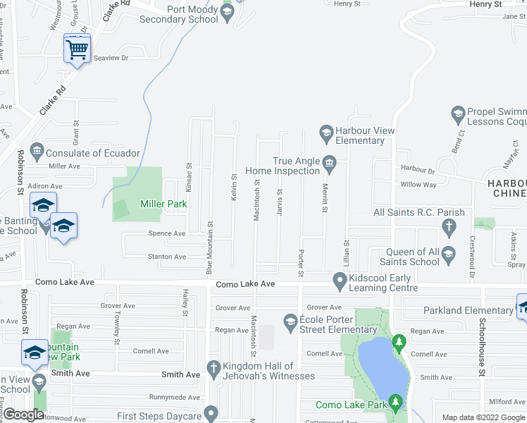 map of restaurants, bars, coffee shops, grocery stores, and more near 919 Macintosh Street in Coquitlam