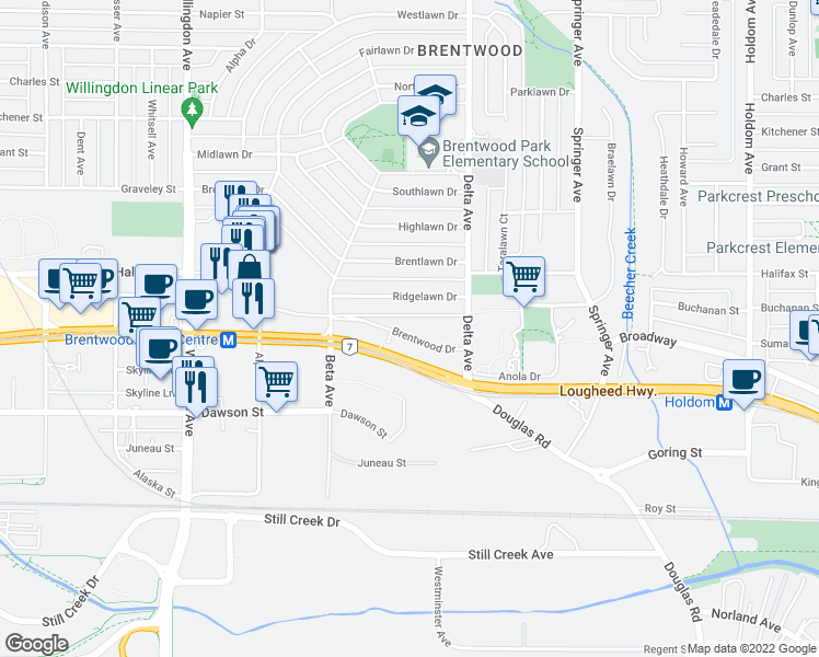 map of restaurants, bars, coffee shops, grocery stores, and more near 4799 Brentwood Drive in Burnaby