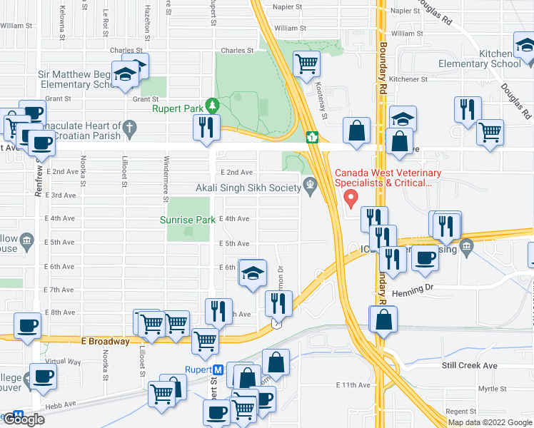 map of restaurants, bars, coffee shops, grocery stores, and more near 3421 East 4th Avenue in Vancouver