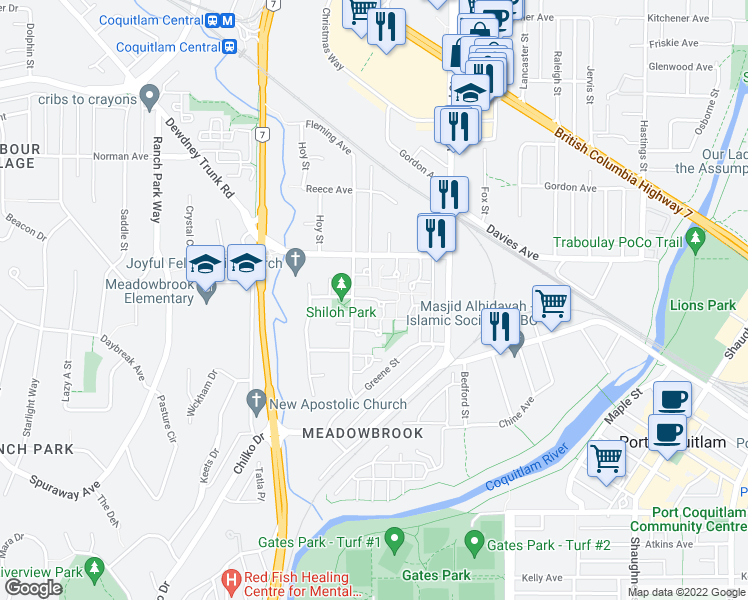 map of restaurants, bars, coffee shops, grocery stores, and more near 3022 Firbrook Place in Coquitlam