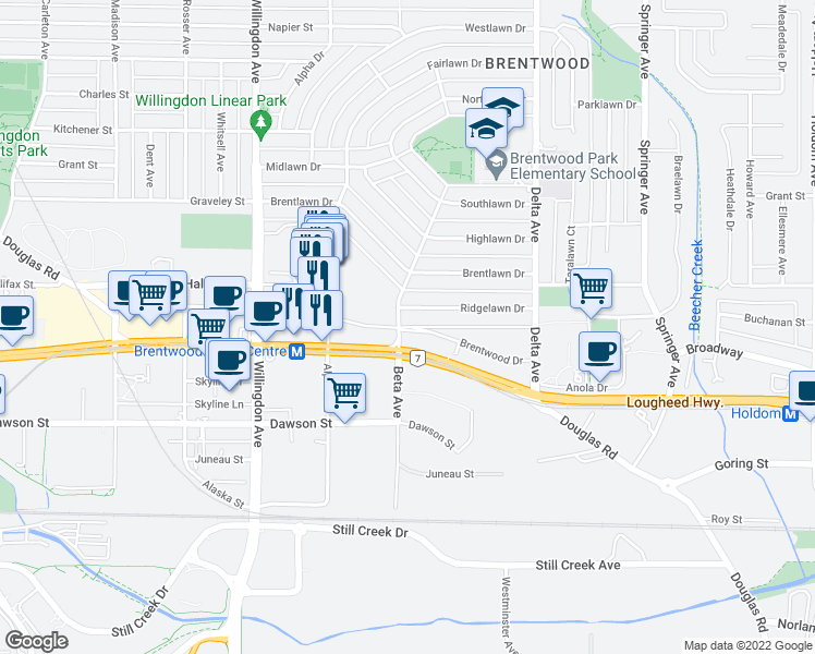 map of restaurants, bars, coffee shops, grocery stores, and more near 4560 Brentwood Drive in Burnaby