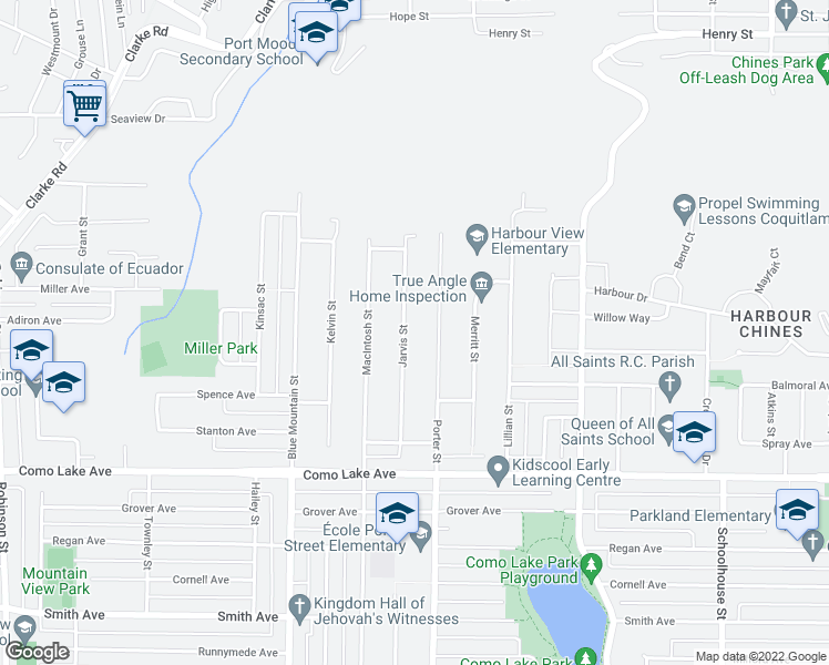 map of restaurants, bars, coffee shops, grocery stores, and more near 933 Jarvis Street in Coquitlam