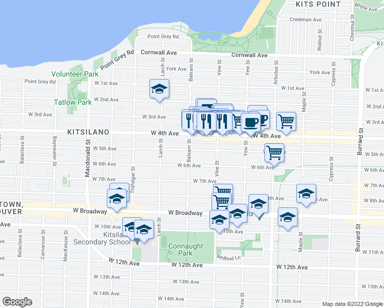 map of restaurants, bars, coffee shops, grocery stores, and more near 2396 West 5th Avenue in Vancouver
