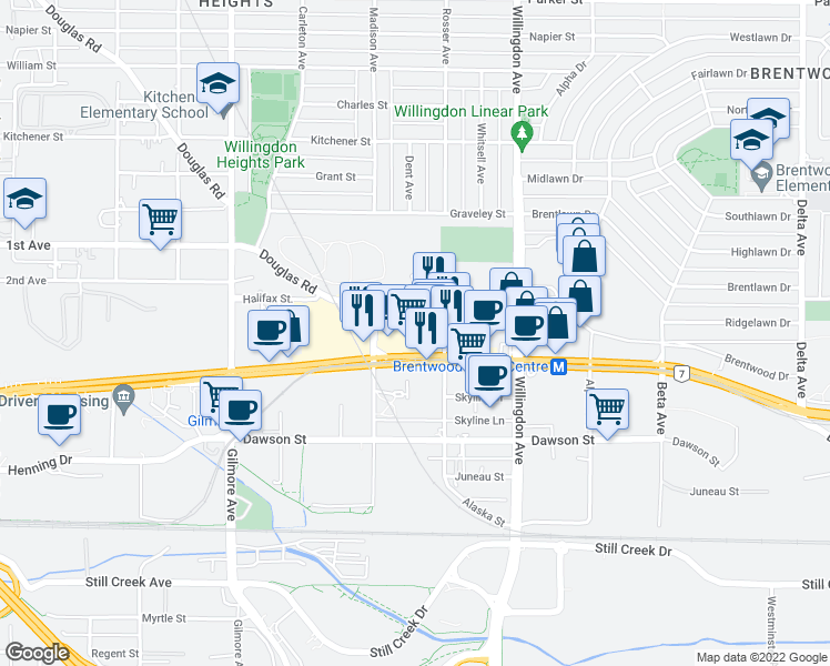 map of restaurants, bars, coffee shops, grocery stores, and more near 4398 Buchanan Street in Burnaby