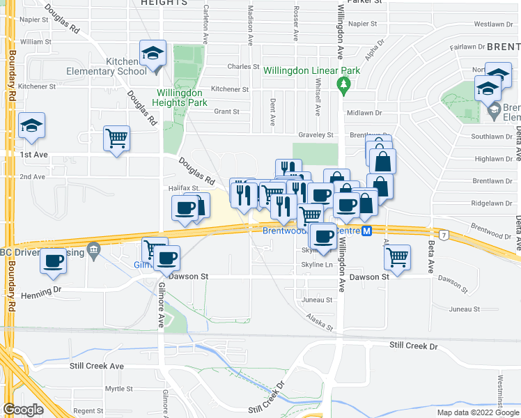map of restaurants, bars, coffee shops, grocery stores, and more near 4388 Buchanan Street in Burnaby