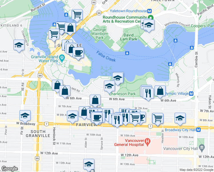 map of restaurants, bars, coffee shops, grocery stores, and more near 1051 Scantlings in Vancouver