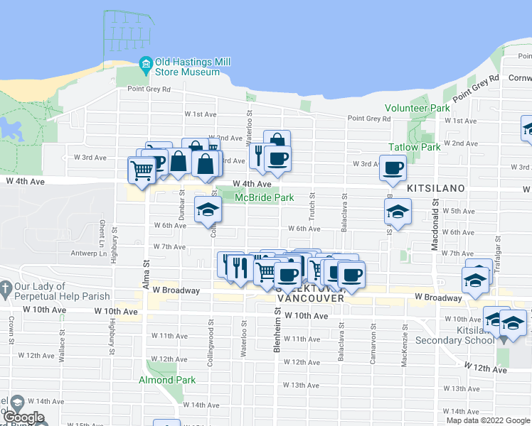 map of restaurants, bars, coffee shops, grocery stores, and more near 3342 West 5th Avenue in Vancouver