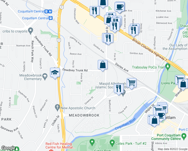 map of restaurants, bars, coffee shops, grocery stores, and more near 972 Birchbrook Place in Coquitlam