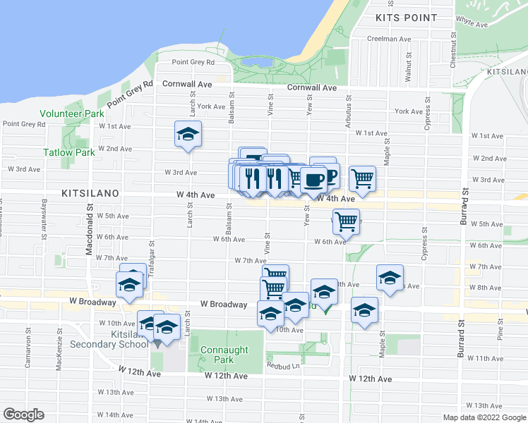 map of restaurants, bars, coffee shops, grocery stores, and more near 2091 Vine Street in Vancouver