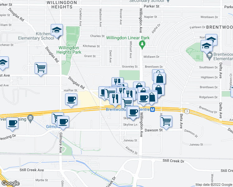 map of restaurants, bars, coffee shops, grocery stores, and more near 4380 Halifax Street in Burnaby