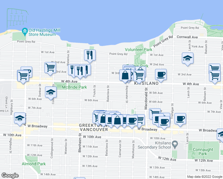 map of restaurants, bars, coffee shops, grocery stores, and more near 3075 West 5th Avenue in Vancouver