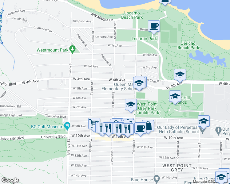 map of restaurants, bars, coffee shops, grocery stores, and more near 4498 West 5th Avenue in Vancouver