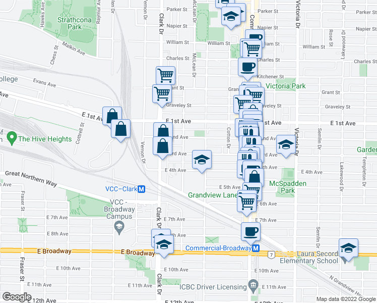 map of restaurants, bars, coffee shops, grocery stores, and more near 1425 East 3rd Avenue in Vancouver