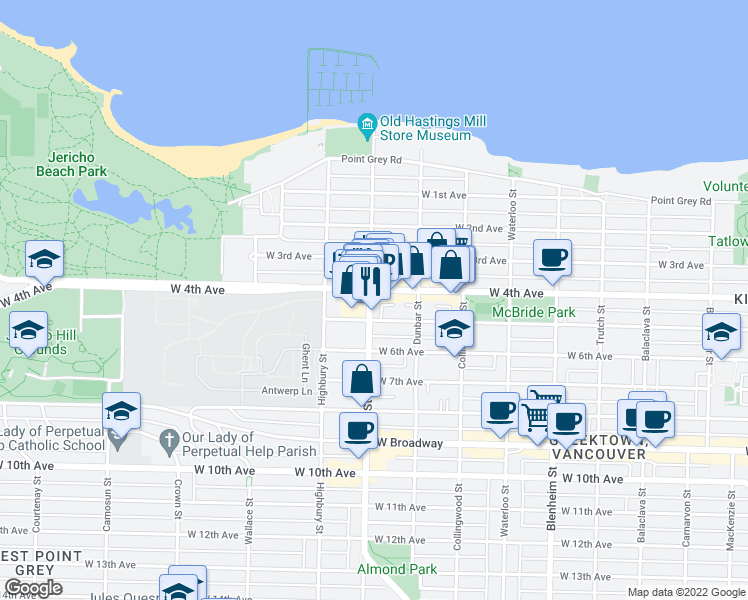 map of restaurants, bars, coffee shops, grocery stores, and more near 2020 Alma Street in Vancouver