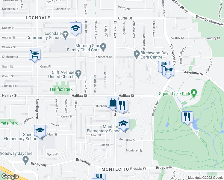 map of restaurants, bars, coffee shops, grocery stores, and more near 1773 Duthie Avenue in Burnaby