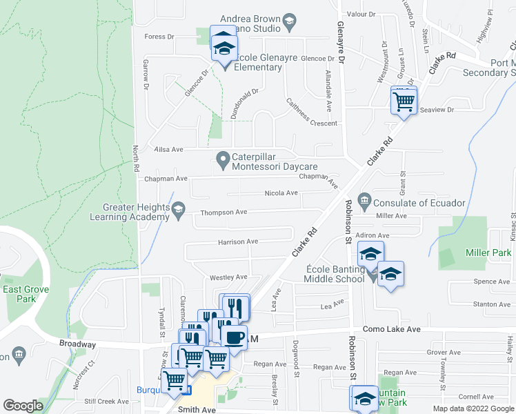 map of restaurants, bars, coffee shops, grocery stores, and more near 625 Thompson Avenue in Coquitlam