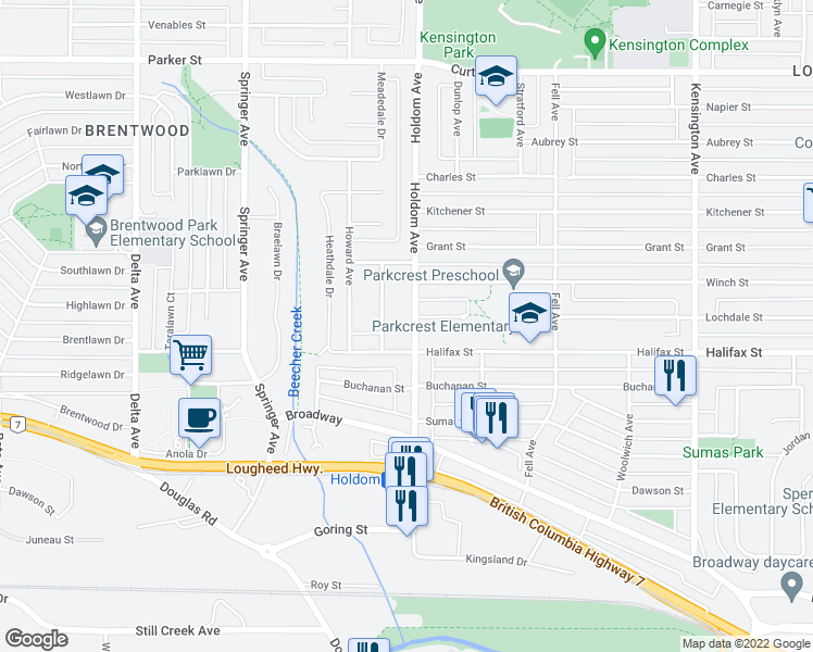 map of restaurants, bars, coffee shops, grocery stores, and more near 1725 Holdom Avenue in Burnaby