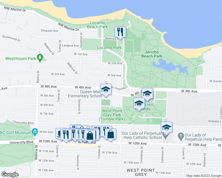 map of restaurants, bars, coffee shops, grocery stores, and more near 4336 Locarno Crescent in Vancouver