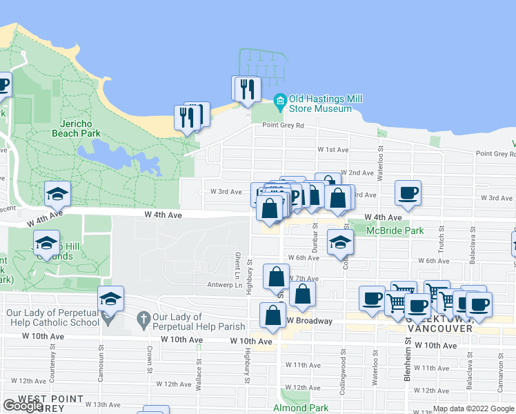 map of restaurants, bars, coffee shops, grocery stores, and more near 3787 West 4th Avenue in Vancouver