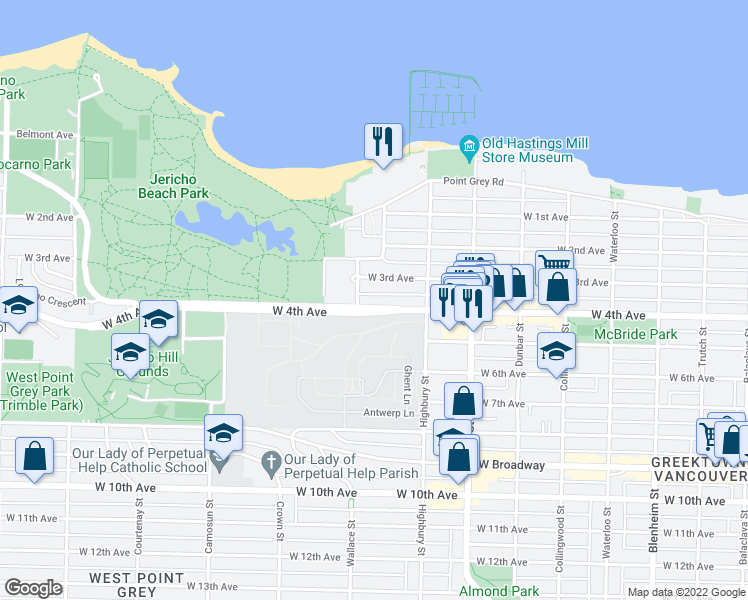 map of restaurants, bars, coffee shops, grocery stores, and more near 3875 West 4th Avenue in Vancouver
