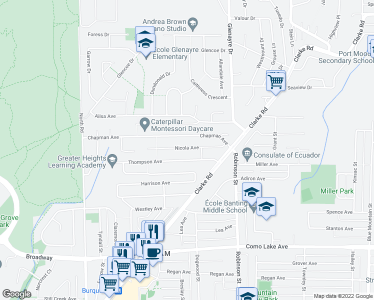 map of restaurants, bars, coffee shops, grocery stores, and more near 632 Nicola Avenue in Coquitlam