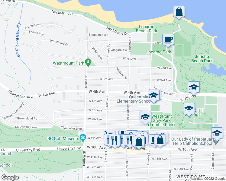 map of restaurants, bars, coffee shops, grocery stores, and more near 4573 West 4th Avenue in Vancouver