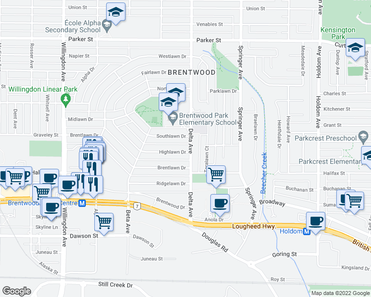 map of restaurants, bars, coffee shops, grocery stores, and more near 4871 Highlawn Drive in Burnaby