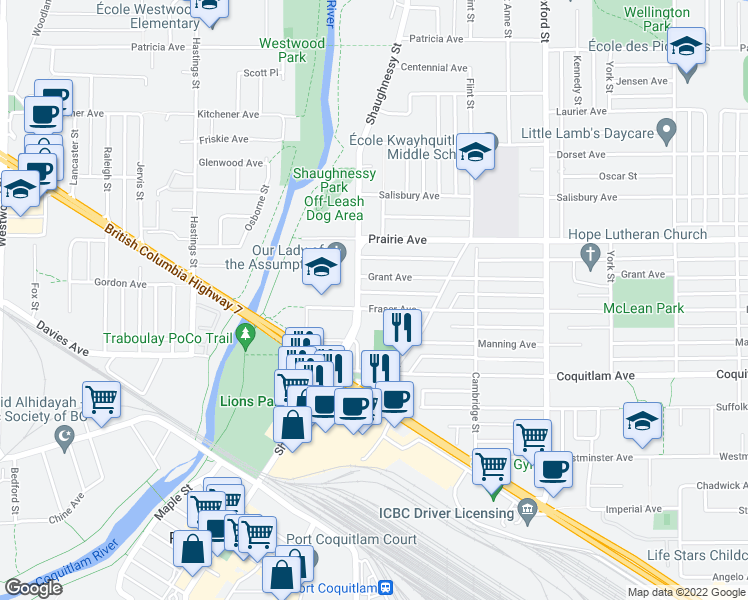 map of restaurants, bars, coffee shops, grocery stores, and more near 2175 Fraser Avenue in Port Coquitlam