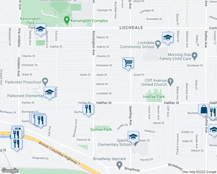 map of restaurants, bars, coffee shops, grocery stores, and more near 6580 Winch Street in Burnaby