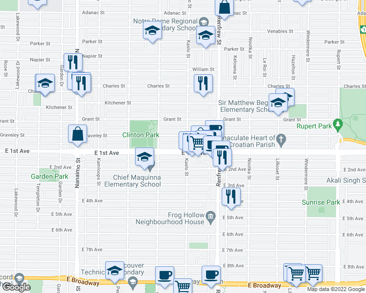 map of restaurants, bars, coffee shops, grocery stores, and more near 2793 East 1st Avenue in Vancouver