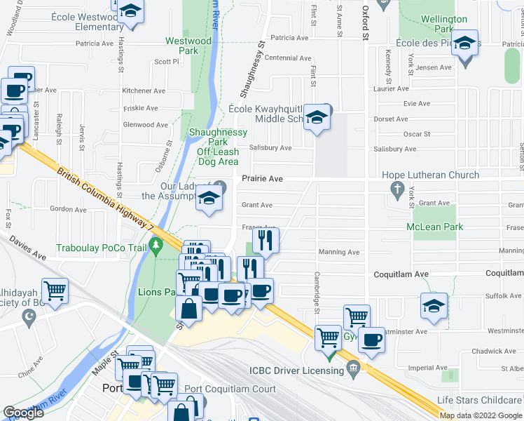 map of restaurants, bars, coffee shops, grocery stores, and more near 2160 Grant Avenue in Port Coquitlam