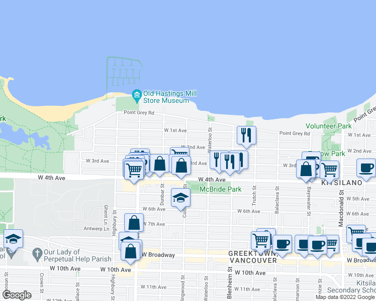 map of restaurants, bars, coffee shops, grocery stores, and more near 1810 Collingwood Street in Vancouver