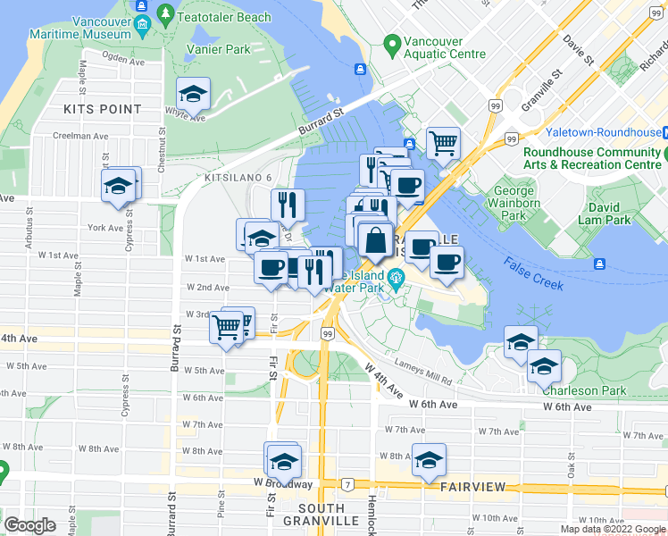 map of restaurants, bars, coffee shops, grocery stores, and more near 1502 Island Park Walk in Vancouver