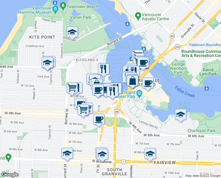 map of restaurants, bars, coffee shops, grocery stores, and more near 1551 Mariner Walk in Vancouver