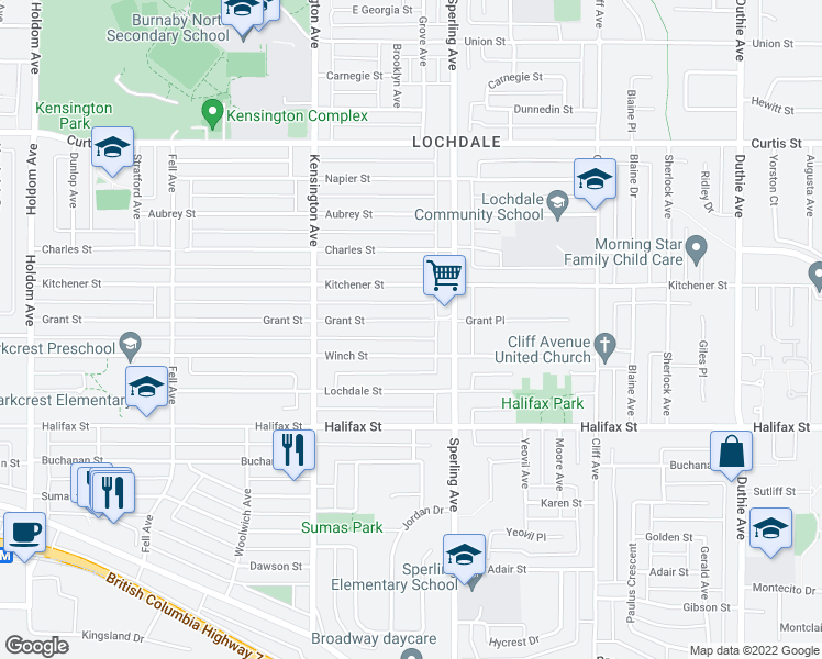 map of restaurants, bars, coffee shops, grocery stores, and more near 6664 Grant Street in Burnaby