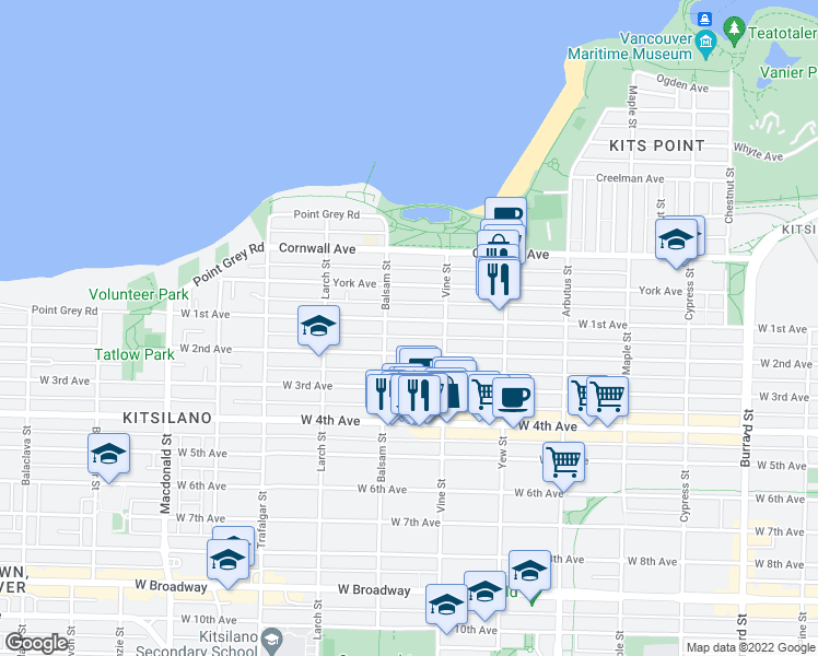 map of restaurants, bars, coffee shops, grocery stores, and more near 2350 West 1st Avenue in Vancouver